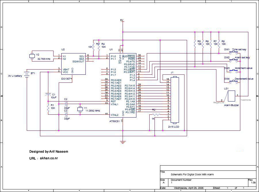 Ds1307 Circuit Diagram | Digital Clock With Alarm Using Ds1307